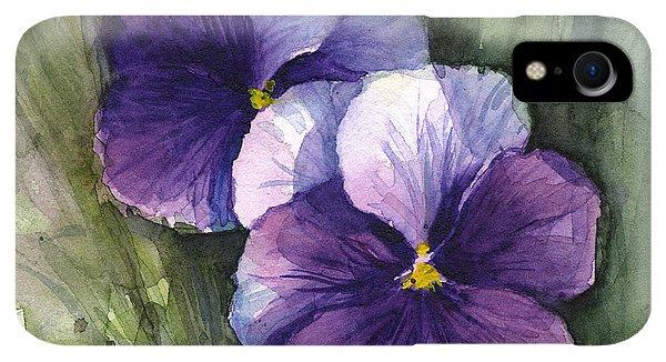 Violet iPhone XR Case - Purple Pansies Watercolor by Olga Shvartsur
