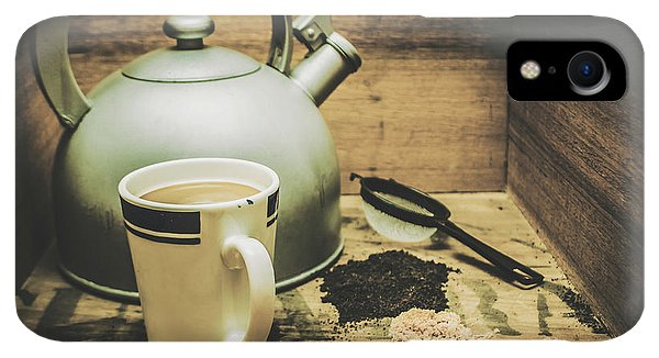 Kettles iPhone XR Case - Retro Vintage Toned Tea Still Life In Crate by Jorgo Photography - Wall Art Gallery
