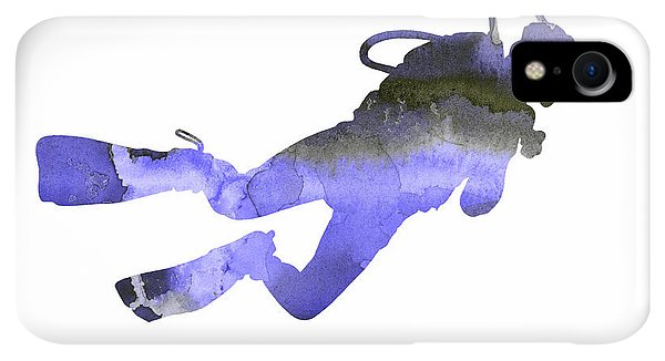 Scuba Diving iPhone XR Case - Scuba Diver Watercolor Silhouette by Joanna Szmerdt