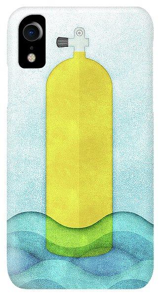 Scuba Diving iPhone XR Case - Scuba Diving - Yellow Tank On Blue by Flo Karp
