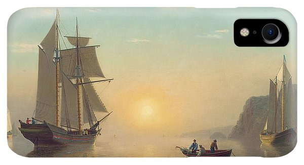 Boats iPhone XR Case - Sunset Calm In The Bay Of Fundy by William Bradford