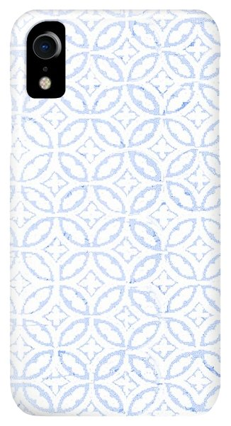 Print iPhone XR Case - Textured Blue Diamond And Oval Pattern by Gillham Studios