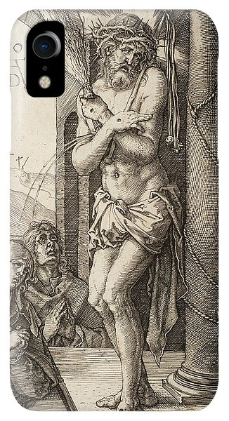 Albrecht Durer iPhone XR Case - The Man Of Sorrows By The Column With The Virgin And St. John  by Albrecht Durer