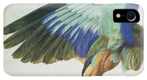 Albrecht Durer iPhone XR Case - The Right Wing Of A Blue Roller by Albrecht Durer