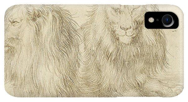 Albrecht Durer iPhone XR Case - Two Seated Lions by Albrecht Durer
