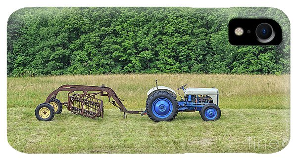 Etna iPhone XR Case - Vintage Ford Blue And White Tractor On A Farm by Edward Fielding