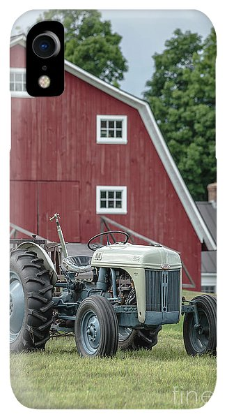 Etna iPhone XR Case - Vintage Ford Farm Tractor With Red Barn by Edward Fielding