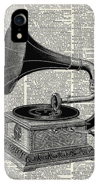 Print iPhone XR Case - Vintage Gramophone by Anna W