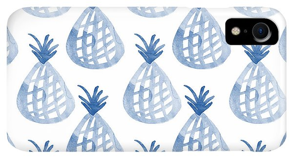 Print iPhone XR Case - White And Blue Pineapple Party by Linda Woods