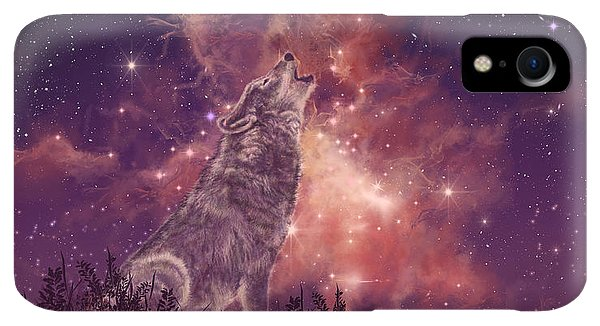 Space iPhone XR Case - Wolf And Sky Red by Bekim M