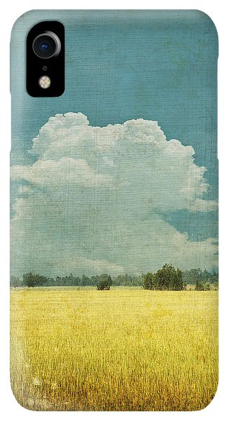 Scenic iPhone XR Case - Yellow Field On Old Grunge Paper by Setsiri Silapasuwanchai