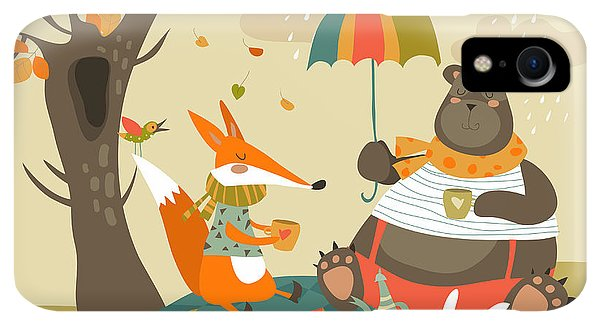 Kettles iPhone XR Case - Animals At Picnic In Autumnal Forest by Maria Starus