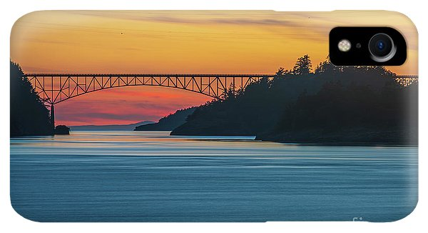 Whidbey iPhone XR Case - Deception Pass Bridge Sunset Light by Mike Reid