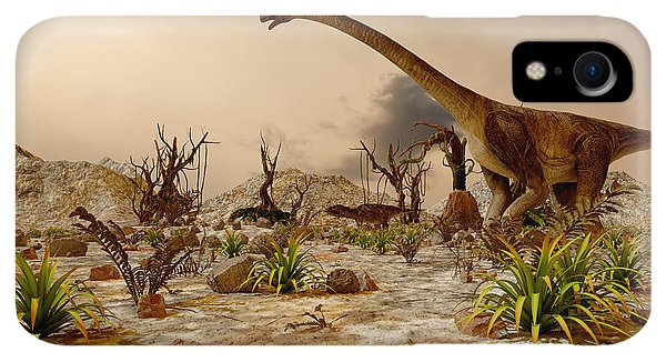 Small iPhone XR Case - Dinosaur. Prehistoric Jungle by Pavel Chagochkin