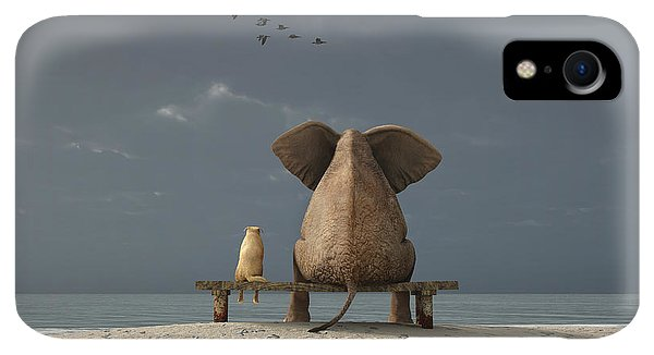 Small iPhone XR Case - Elephant And Dog Sit On A Beach by Photobank Gallery