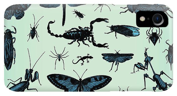Small iPhone XR Case - Engraving Vintage Insect Set From by Pio3