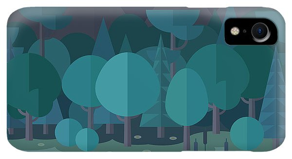 Space iPhone XR Case - Forest Landscape In A Flat Style In The by Art.tkach