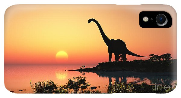 Small iPhone XR Case - Giant Dinosaur In The Background Of The by Iurii