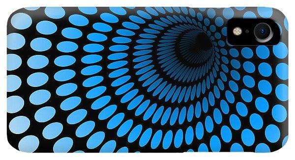 Space iPhone XR Case - Hi Tech Blue Tunnel, Digital Dynamic by Artcalin
