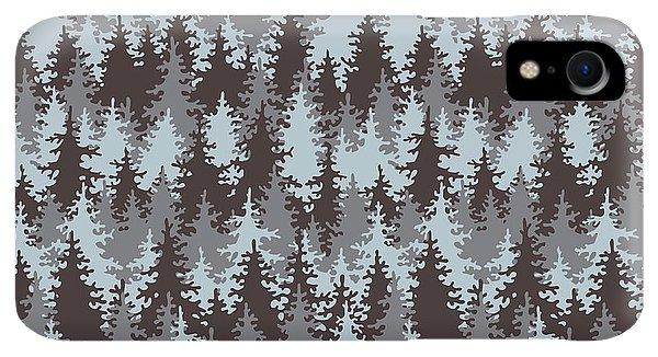Space iPhone XR Case - Illustration Coniferous Forest by Baksiabat