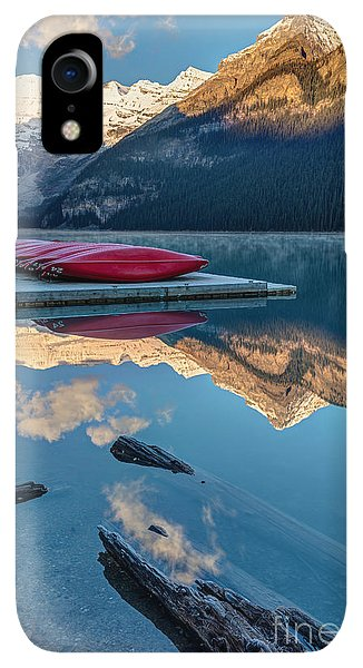 Rocky Mountain iPhone XR Case - Lake Louise Canoes In Banff National by Pierre Leclerc