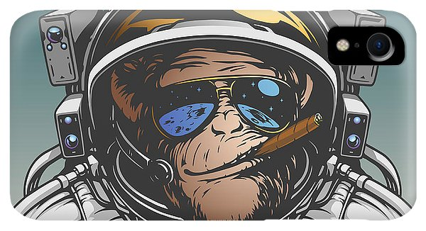 Space iPhone XR Case - Monkey Astronaut Illustration by D1sk