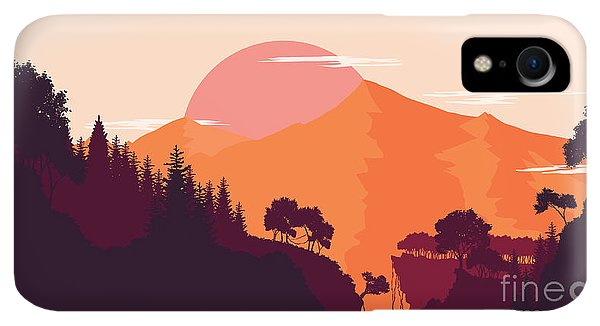 Rocky Mountain iPhone XR Case - Mountain And Forest Landscape In Day by Miomart
