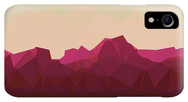 Space iPhone XR Case - Mountainous Terrain, Polygonal by Droidworker