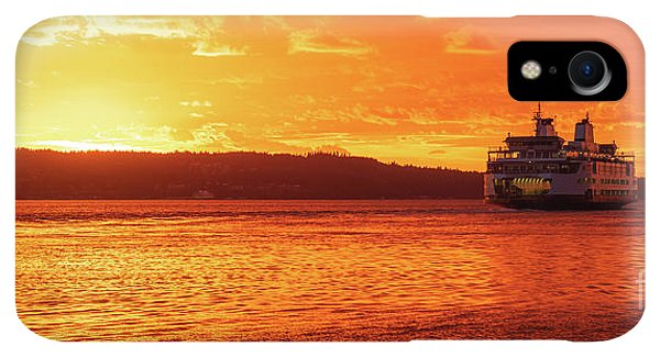 Whidbey iPhone XR Case - Mukilteo Ferry On Puget Sound Sunset Reflection by Mike Reid