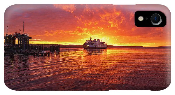 Whidbey iPhone XR Case - Mukilteo Ferry Sunset Reflection by Mike Reid