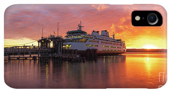Whidbey iPhone XR Case - Mukilteo Ferry Sunset Reflection Panorama by Mike Reid