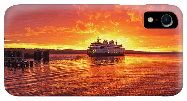 Whidbey iPhone XR Case - Mukilteo Ferry Sunset Skies Reflection by Mike Reid