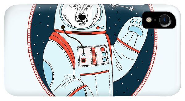 Space iPhone XR Case - Polar Bear Astronaut In Outer Space by Olga angelloz