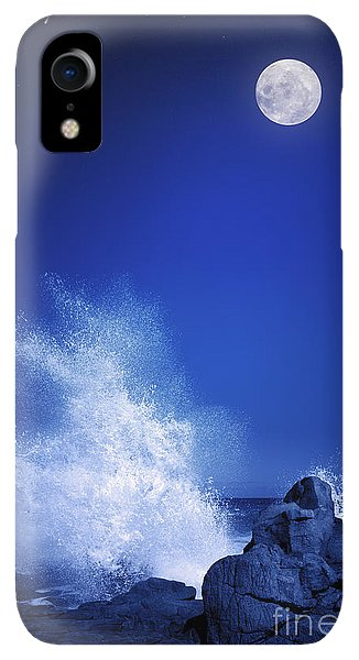 Space iPhone XR Case - Rising Moon Over Rocky Coastline At by Johan Swanepoel