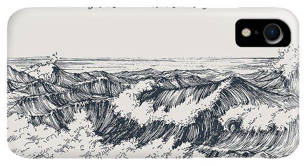 Space iPhone XR Case - Sea Or Ocean Waves Drawing. Sea View by Danussa
