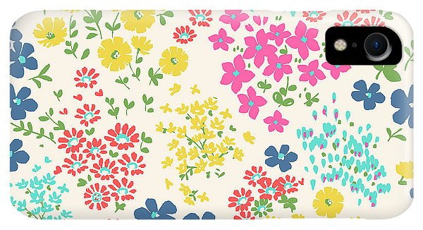 Small iPhone XR Case - Seamless Ditsy Floral Pattern In Vector by Indipixi