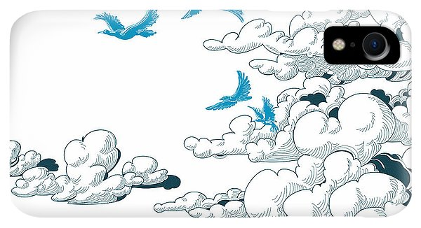 Space iPhone XR Case - Sky Background, Clouds And Blue Birds by Danussa