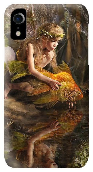 Small iPhone XR Case - The Girl Releases A Gold Fish by Liliya Kulianionak