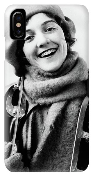 Knit Hat iPhone XS Max Case - 1920s 1930s Smiling Woman Dressed by Vintage Images