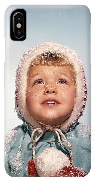 Knit Hat iPhone XS Max Case - 1960s Little Girl Holding Snow Ball by Vintage Images