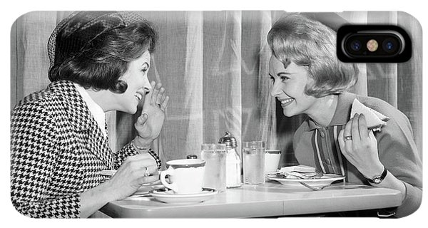 Knit Hat iPhone XS Max Case - 1960s Two Women Gossiping At Lunch by Vintage Images