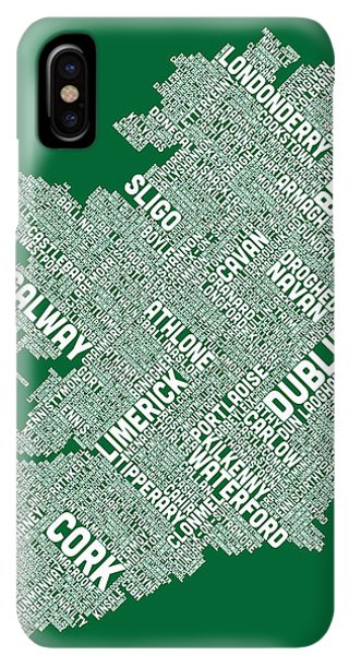 St. Patricks Day iPhone XS Max Case - Ireland Eire City Text Map by Michael Tompsett