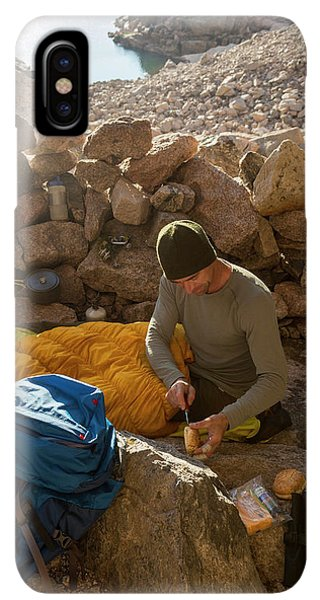 Knit Hat iPhone XS Max Case - A Male Mountain Climber Getting Ready by Kennan Harvey