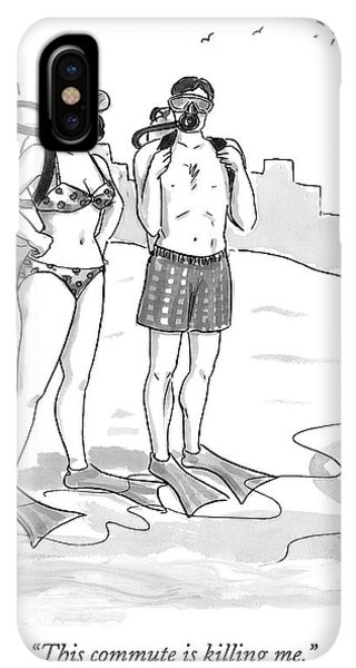 Scuba Diving iPhone XS Max Case - A Man And A Woman In Swimsuits And Diving Gear by Carolita Johnson