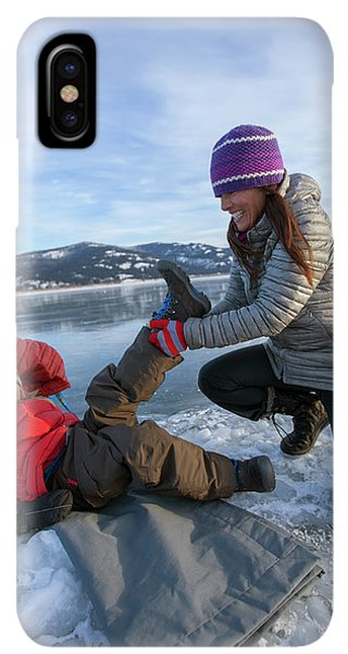 Knit Hat iPhone XS Max Case - A Mom Helping A Little Boy Get Ready by Woods Wheatcroft