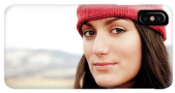Knit Hat iPhone XS Max Case - A Portrait Of A Young Woman While by Jordan Siemens