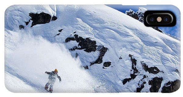 Knit Hat iPhone XS Max Case - A Snowboarder Slashes Powder Snow by Ben Girardi