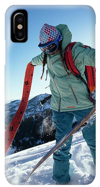 Knit Hat iPhone XS Max Case - A Woman Backcountry Skiing by Mike Schirf