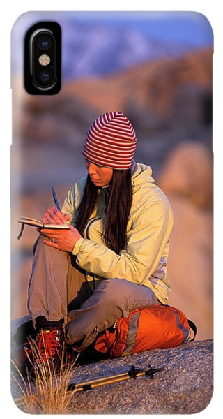 Knit Hat iPhone XS Max Case - A Woman Sits And Writes In Her Journal by Corey Rich