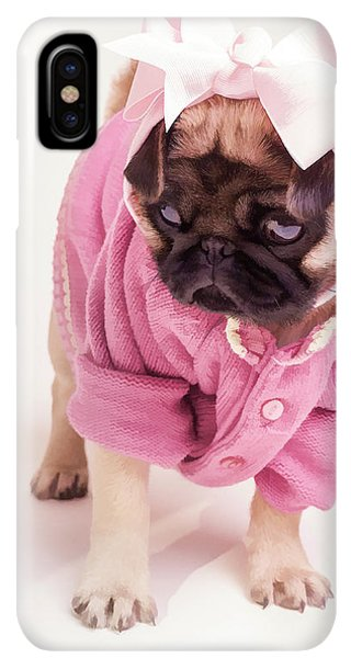 Pug iPhone XS Max Case - Adorable Pug Puppy In Pink Bow And Sweater by Edward Fielding
